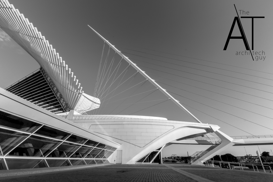 Finished image of Milwaukee Art Museum with The Archi-Tech Guy logo without a background