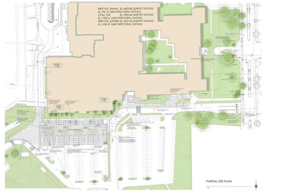 Finished image of colored site plan from tutorial - How to Create a Colored Site Plan Using Photoshop