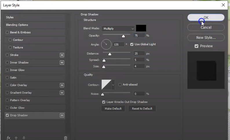 Screenshot of drop shadow dialog box in Adobe Photoshop with settings used in tutorial - How to Create a Colored Site Plan Using Photoshop.