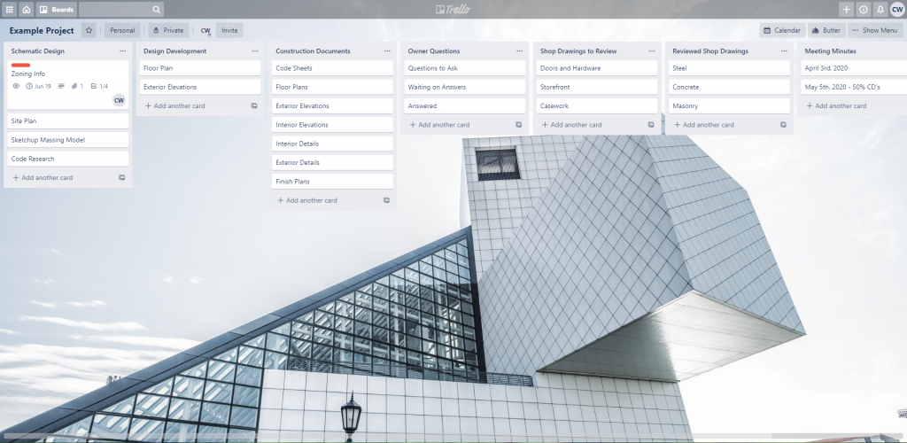 Typical Trello Board for Architects
